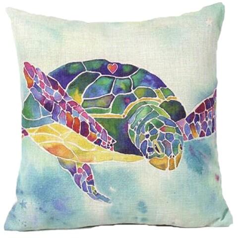 Lillowz Rainbow Sea Turtle Canvas Throw Pillow 17-inch