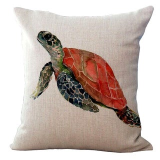 Lillowz Red Sea Turtle Canvas Throw Pillow 17-inch