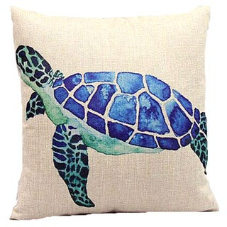 Lillowz Blue Sea Turtle Canvas Throw Pillow 17-inch