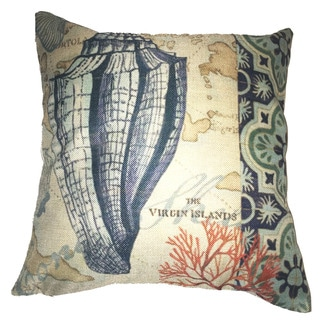 Lillowz Conch Shell Left Canvas Throw Pillow 17-inch