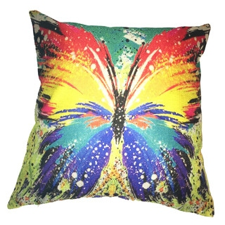Lillowz Butterfly Rainbow Canvas Throw Pillow 17-inch