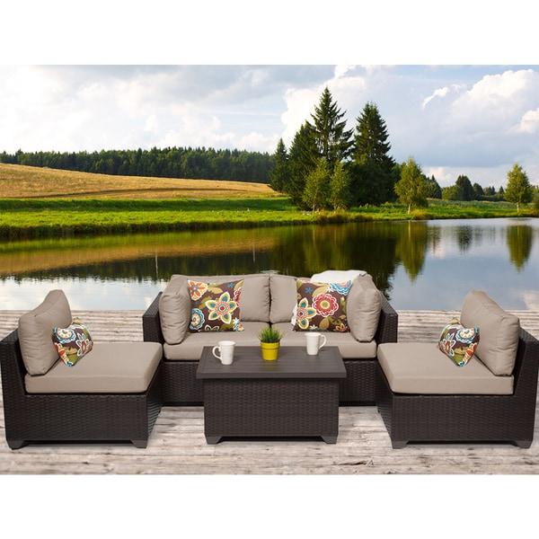 Belle 5 Piece Outdoor Wicker Patio Furniture Set 05c