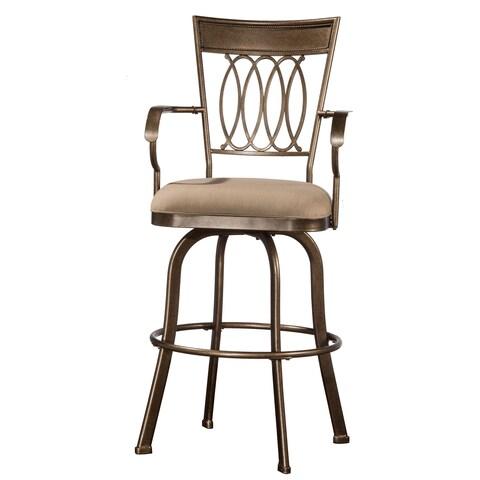 Hillsdale Furniture Delk Indoor/ Outdoor Swivel Counter Stool in Gold Bronze Finish