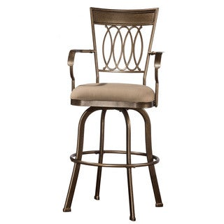 Hillsdale Furniture Delk Indoor/Outdoor Swivel Bar Stool with Gold Bronze Finish