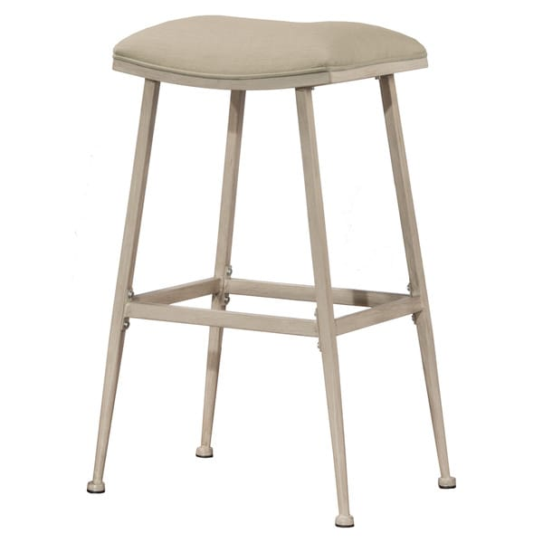 Hillsdale Furniture Flynn White Metal/Fabric Indoor/Outdoor Swiveling Backless Bar Stool  sc 1 st  Overstock.com : white metal bar stools - islam-shia.org