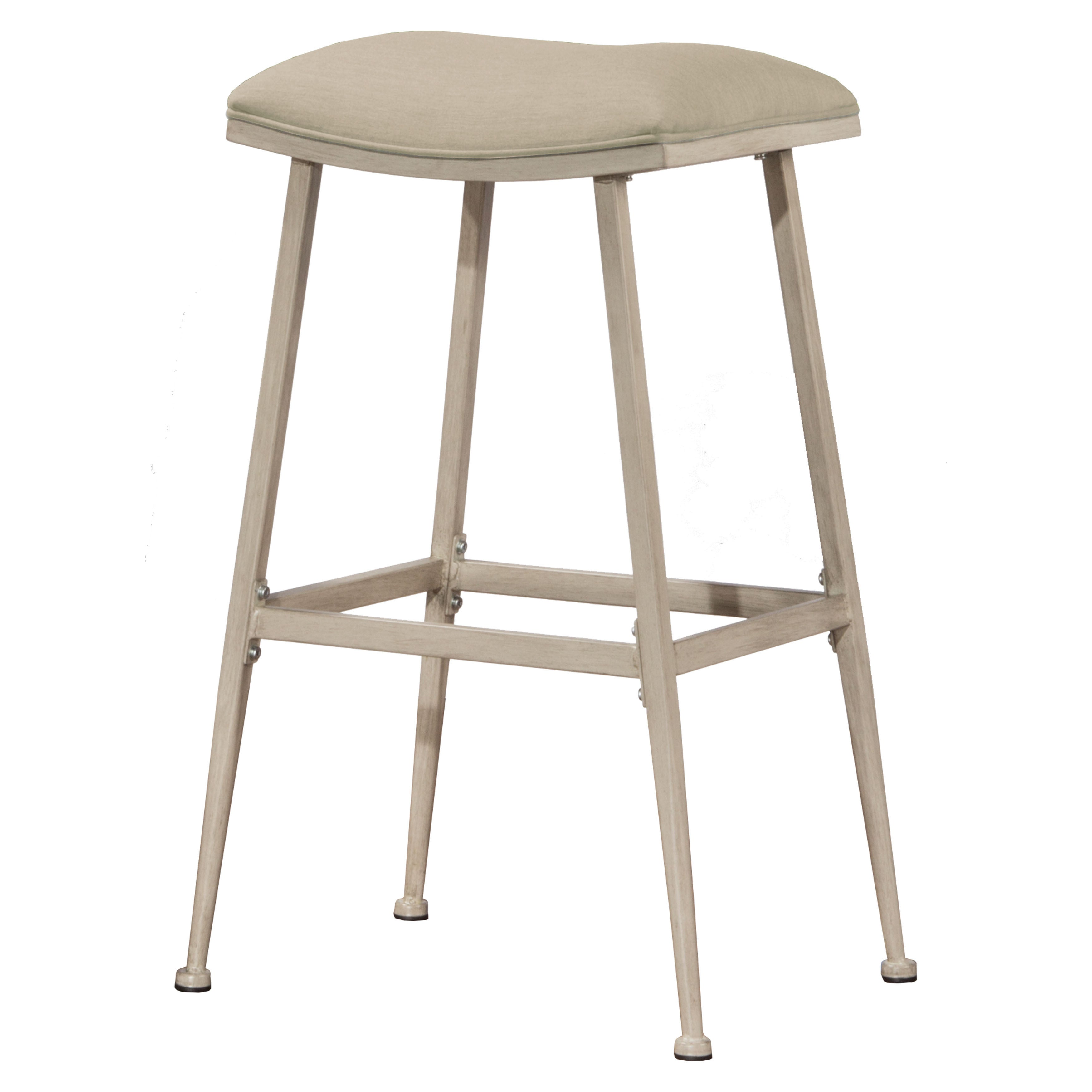 Shop hillsdale furniture flynn white metal fabric indoor outdoor non swivel backless bar stool free shipping on orders over 45 overstock com 15268961