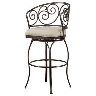 Hillsdale Furniture Solana Brushed Pewter Upholstered Indoor/ Outdoor Swivel Counter Stool