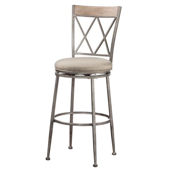Hilale Furniture Indoor Outdoor Swivel Counter Stool In Aged Pewter
