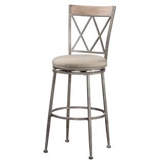 Hillsdale Furniture Stewart Indoor/Outdoor Swivel Bar Stool in Aged Pewter