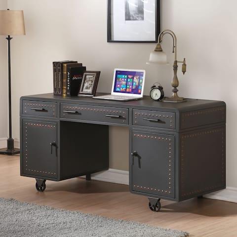Acme Furniture Actaki Sandy Gray Metal Executive Desk