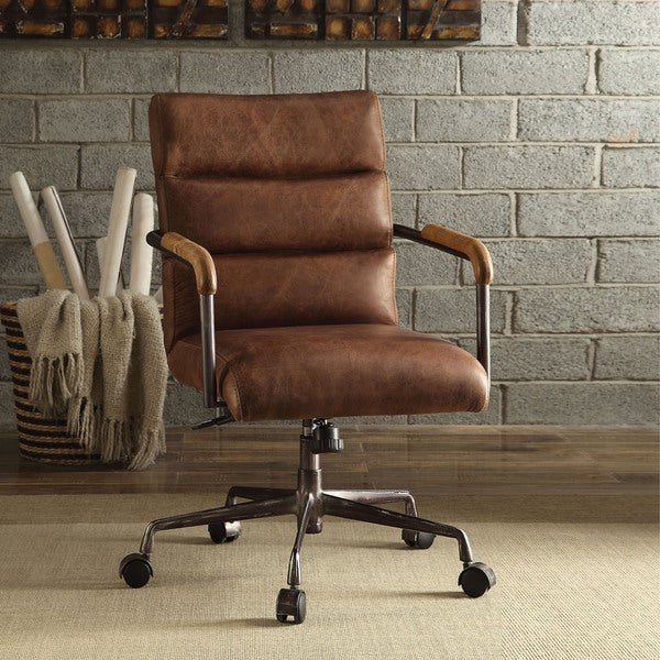 acme furniture harith topgrain leather office chair