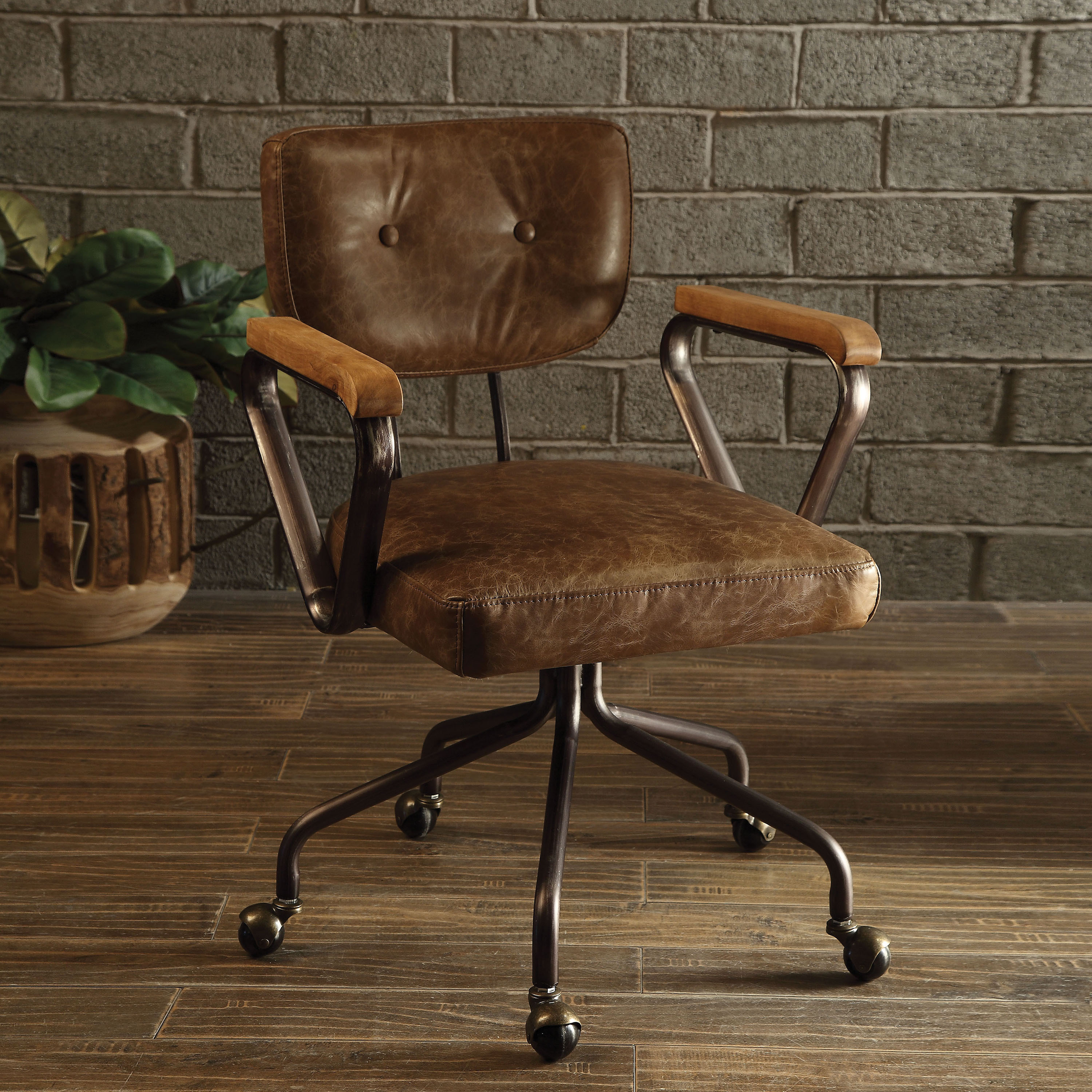 Acme Furniture Hallie Top-grain Leather Office Chair, Brown