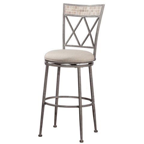 Hillsdale Furniture Milestone Indoor/Outdoor Swivel Bar Stool in Aged Pewter Finish