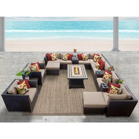 Barbados 17 Piece Outdoor Wicker Patio Furniture Set 17b