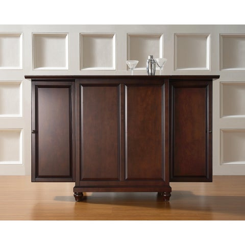 Crosley Furniture Cambridge Brown Wood Expandable Bar Cabinet