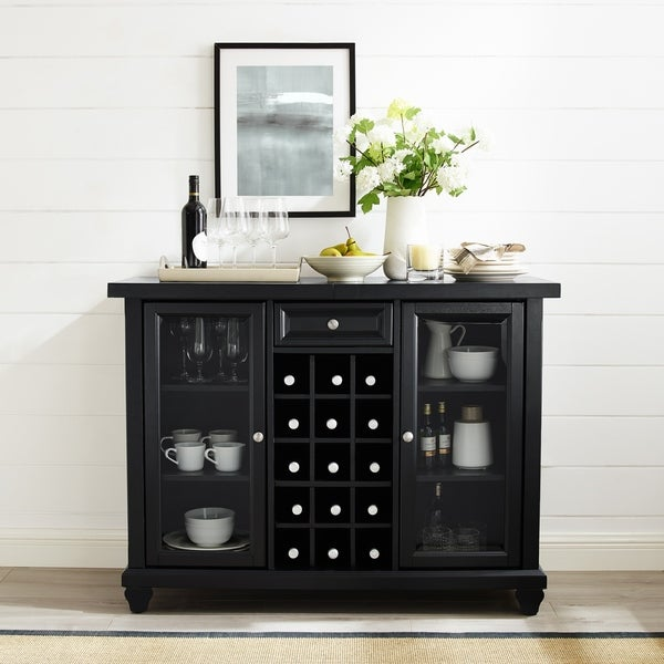 Shop Cambridge Sliding Top Bar Cabinet In Black Finish N