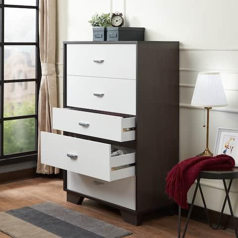 Carson Carrington Hobro White/Espresso 5-drawer Chest