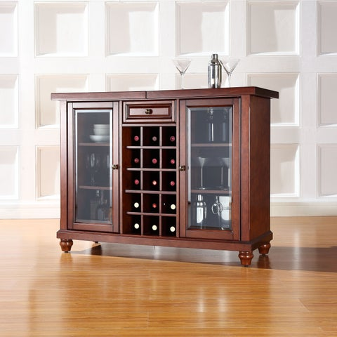 Cambridge Sliding Top Bar Cabinet in Vintage Mahogany Finish