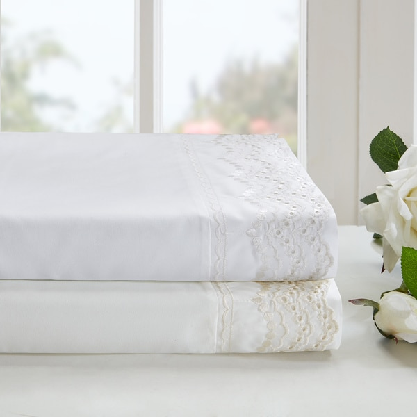 Madison Park Essentials Scalloped Eyelet Embroidered Sheet Set 2 Color Option