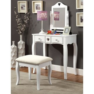 Pipi White Wood Vanity Set with Mirror