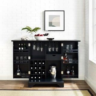 Crosley Furniture LaFayette Black Finish Expandable Bar Cabinet