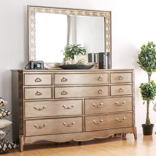 Furniture of America Kerasaw Contemporary 2-piece Brushed Gold Dresser and Mirror Set