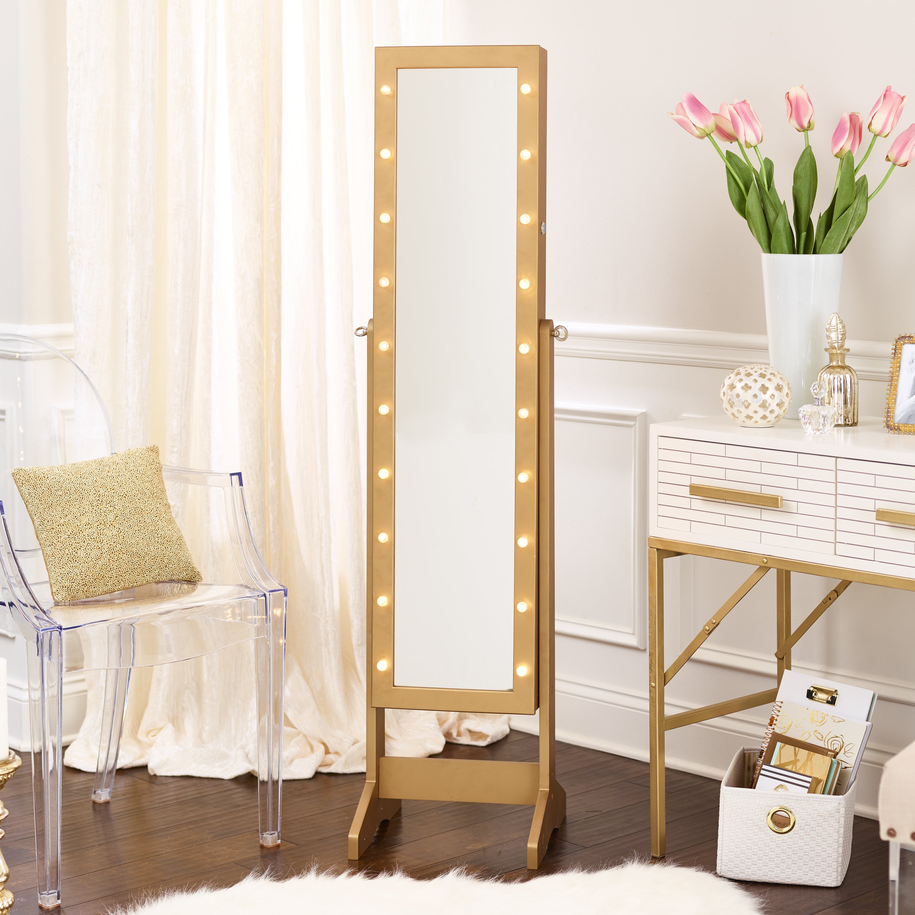 Innerspace Cheval Freestanding Jewelry Armoire With LED L...