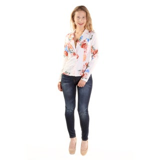 Xehar Women's Casual Business Floral Print Lightweight Blazer