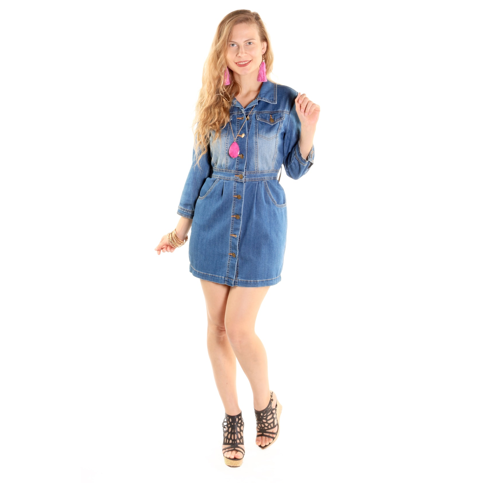 Hadari Xehar Women's Casual Sexy Denim Shirt Dress (L), Blue