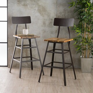 Rugar Natural Stained Laminated Acacia Barstool (Set of 2) by Christopher Knight Home