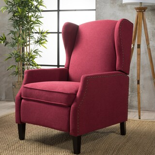 Wescott Wingback Fabric Recliner Club Chair by Christopher Knight Home (Option: Deep Red)