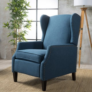 Wescott Wingback Fabric Recliner Club Chair by Christopher Knight Home (Option: Navy Blue)