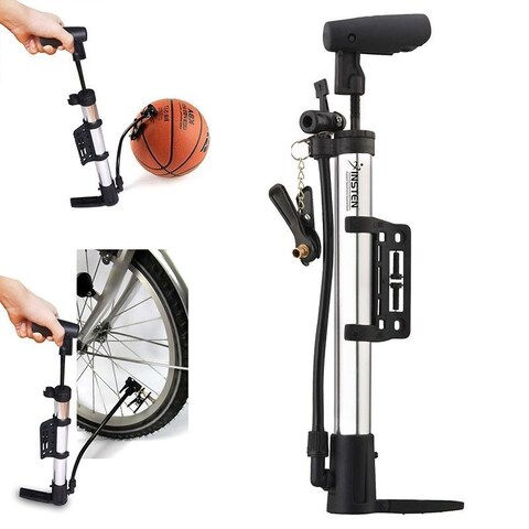 Insten Silver Mini Manual Multi-purpose Air Pump for Bicycle/ Motorcycle/ Tires/ Football/ Basketball/ Ballon