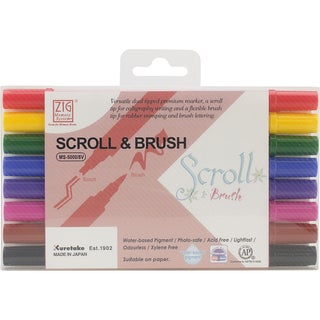 Zig Memory System Scroll & Brush Dual-Tip Markers 8/Pkg-