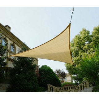 Cool Area Triangle 11 Feet 5 Inches Sun Shade Sail, UV Block Fabric Sail Perfect for Outdoor Patio Gardenin Color Sand