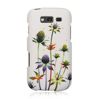 Insten White/ Green Spiky Weed Hard Snap-on Rubberized Matte Case Cover For Samsung Galaxy S Blaze 4G SGH-T769 (T-Mobile)