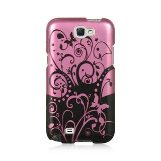 Insten Hot Pink/ Black Swirl Hard Snap-on Rubberized Matte Case Cover For Samsung Galaxy Note II