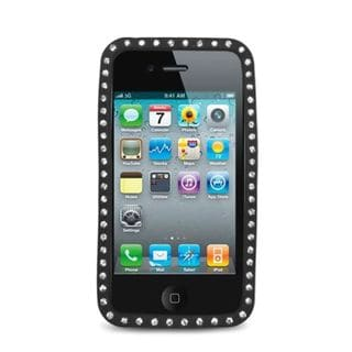 Insten Silicone Skin Gel Rubber Case Cover with Diamond For Apple iPhone 4
