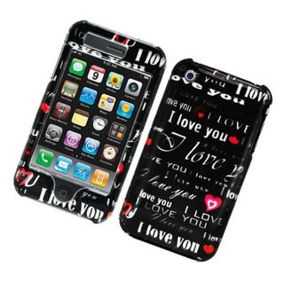 Insten Black Love You Hard Snap-on Glossy Case Cover For Apple iPhone 3G/ 3GS