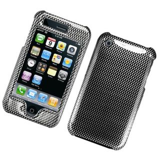 Insten grey Carbon Fiber Hard Snap-on Glossy Case Cover For Apple iPhone 3G/ 3GS