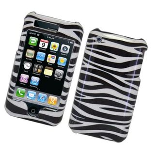 Insten White/ Black Zebra Hard Snap-on Glossy Case Cover For Apple iPhone 3G/ 3GS