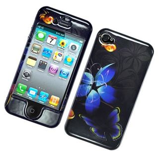 Insten Black/ Blue Butterfly Hard Snap-on Glossy Case Cover For Apple iPhone 4/ 4S