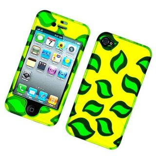 Insten Yellow/ Green Leaves Hard Snap-on Glossy Case Cover For Apple iPhone 4/ 4S