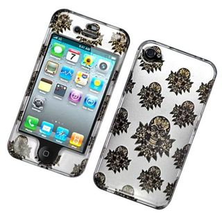 Insten White/ Brown Skull Hard Snap-on Glossy Case Cover For Apple iPhone 4/ 4S