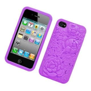 Insten Purple 3D Flower Silicone Skin Gel Rubber Case Cover For Apple iPhone 4/ 4S