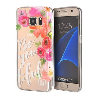 Insten Pink/ White BE-YOU-TIFUL TPU Rubber Candy Skin Case Cover For Samsung Galaxy S7