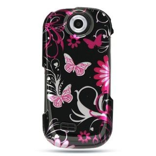 Insten Black/ Pink Butterfly Hard Snap-on Rubberized Matte Case Cover For Samsung Suede SCH-R710