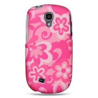 Insten Hot Pink/ White Flowers Hard Snap-on Rubberized Matte Case Cover For Samsung Gravity Smart SGH-T589