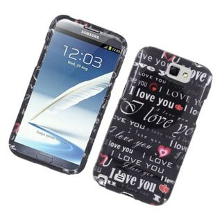 Insten Black Love You Hard Snap-on Glossy Case Cover For Samsung Galaxy Note II