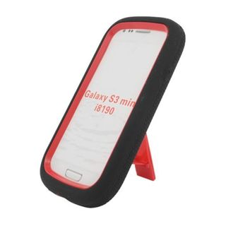 Insten Black/ Red Symbiosis Soft Silicone/ PC Rubber Case Cover with Stand For Samsung Galaxy S3 Mini GT-I8190
